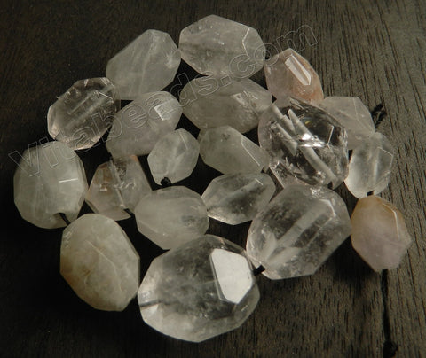 Rock Cloudy Crystal Quartz Natural AB -  Graduated Machine Cut Tumbles  15""