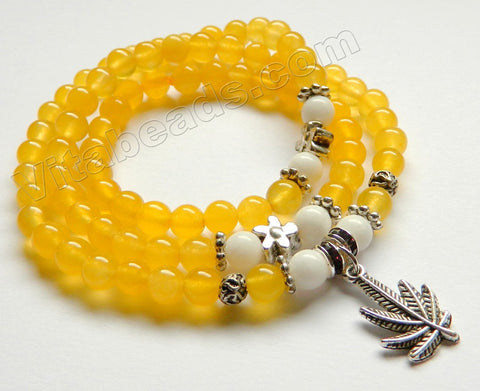 Smooth Round Beads Bracelet - Yellow Jade w/ Leaf Charm Length:  20""