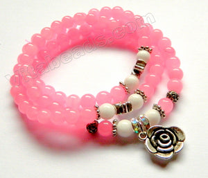 Smooth Round Beads Bracelet - Hot Pink Jade w/ Rose Charm Length:  20""