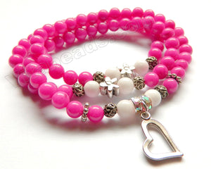 Smooth Round Beads Bracelet - Fuchsia Jade w/ Heart Charm Length:  20""