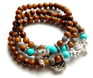 Smooth Round Beads Bracelet - Brown Jade, Blue Turquoise  w/ Charms Length:  20""