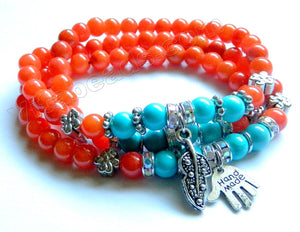 Smooth Round Beads Bracelet - Orange Jade, Blue Turquoise  w/ Charms Length:  21""