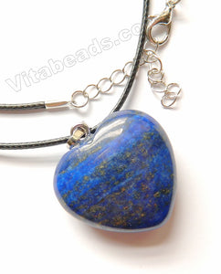 Lapis Lazuli  -  Thick Puff Heart Pendant w/ Black Wire Necklace 18-20""