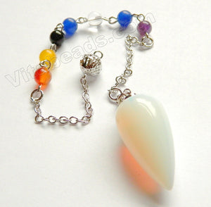 7 - Gemstone Chakra Chain w/ Pendant Bracelet, Anklet - Synthetic White Opal