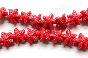 Resin Sponge Coral Red  -  Carved Starfish Strand  16""