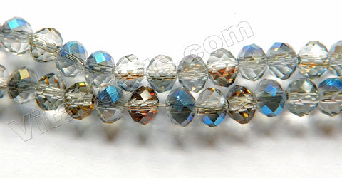 Light Mystic Blue Peacock Crystal Quartz  -  Faceted Rondel  16""