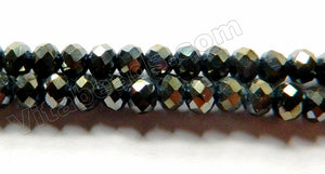 Black Metallic Crystal Quartz  -  Faceted Rondel  16""