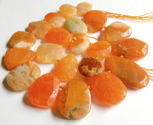 Orange Fire Agate  -  Graduated Top-drilled Machine Cut Irregular Drop  16""
