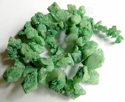 Green Druzy Crystal  -  Graduated Top Drilled Rough Nuggets  16""