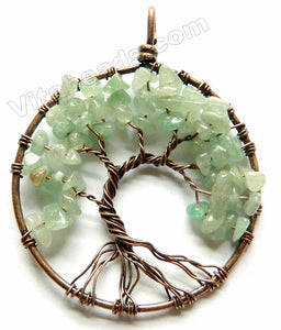 Green Aventurine - Bronze Wired Round Tree Pendant - B