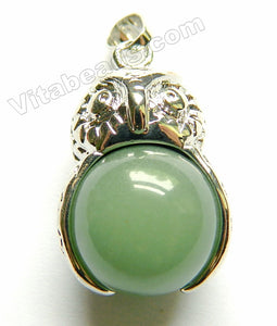 Green Aventurine - Owl Pendant w/ 16mm green aventurine ball