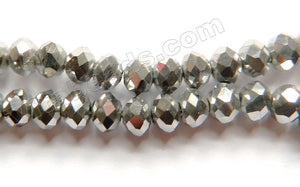 Silver Metallic Crystal  -  Faceted Rondel