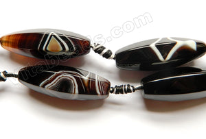 Black Sardonix Agate AAA  -  6-Side Faceted Long Rice w/ Knots 16""