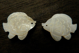 Cream White MOP Shell  Carved Fish Pendant, Charm