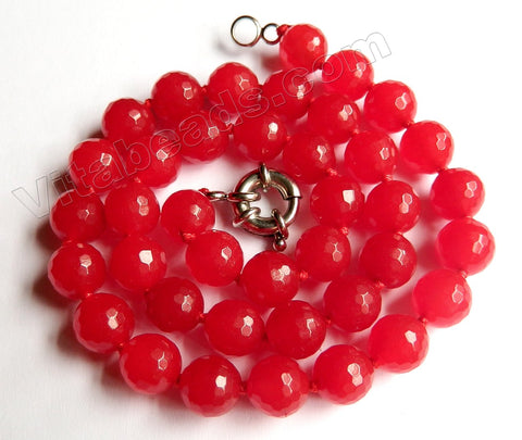 Xmas Red Jade -  Faceted Round w/ Knots Necklace 18""