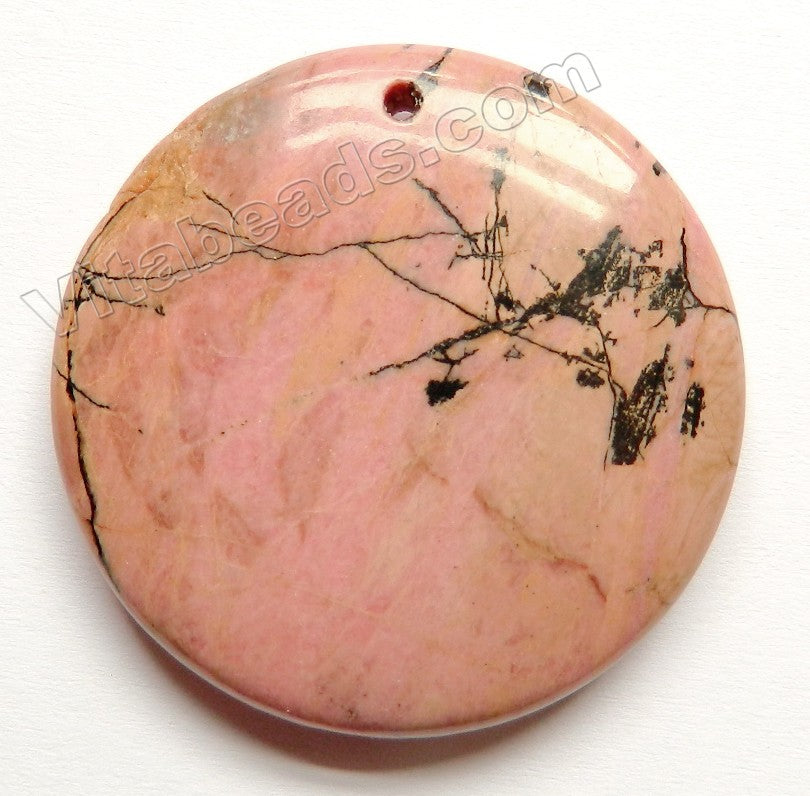 Pendant - Smooth Round    Black Line Rhodonite Light