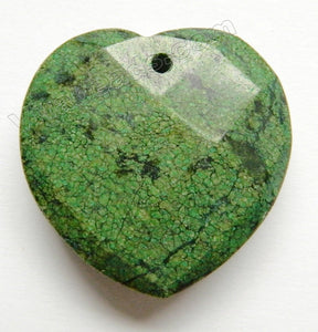 Faceted Pendant - Heart Green Chrysacolla