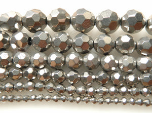 Silver Metallic Crystal  -  Faceted Round  14""