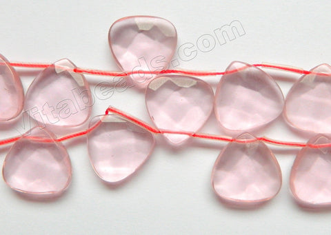 Rose Pink Crystal  -  20mm Faceted Flat Briolette