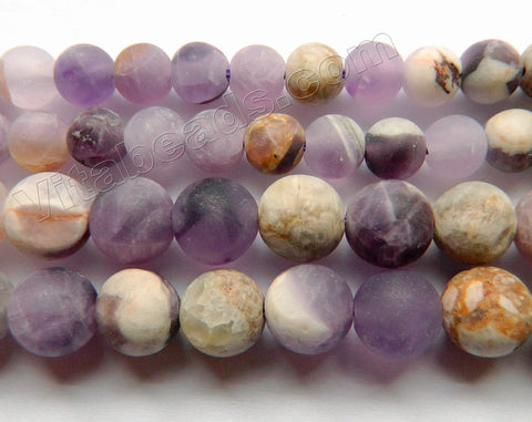 Matte Dog Teeth Amethyst  -  Smooth Round  15""