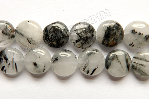 Black Rutilated Quartz Natural A  -  Puff Coins  16""