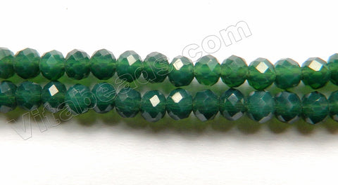 Deep Moss Green Quartz  -  Small Faceted Rondel  16""