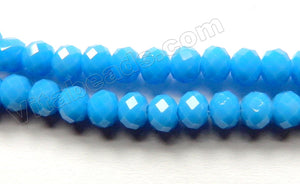 Deep Turquoise Blue Quartz  -  Faceted Rondel   16""