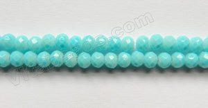 Plated Amazonite Quartz  -  Small Faceted Roundel  15""