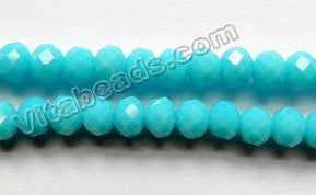 Deep Aqua Chalcedony Quartz  -  Faceted Rondel   16""