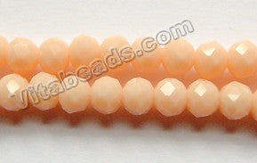 Yellow Peach Chalcedony Quartz  -  Faceted Roundel  16""