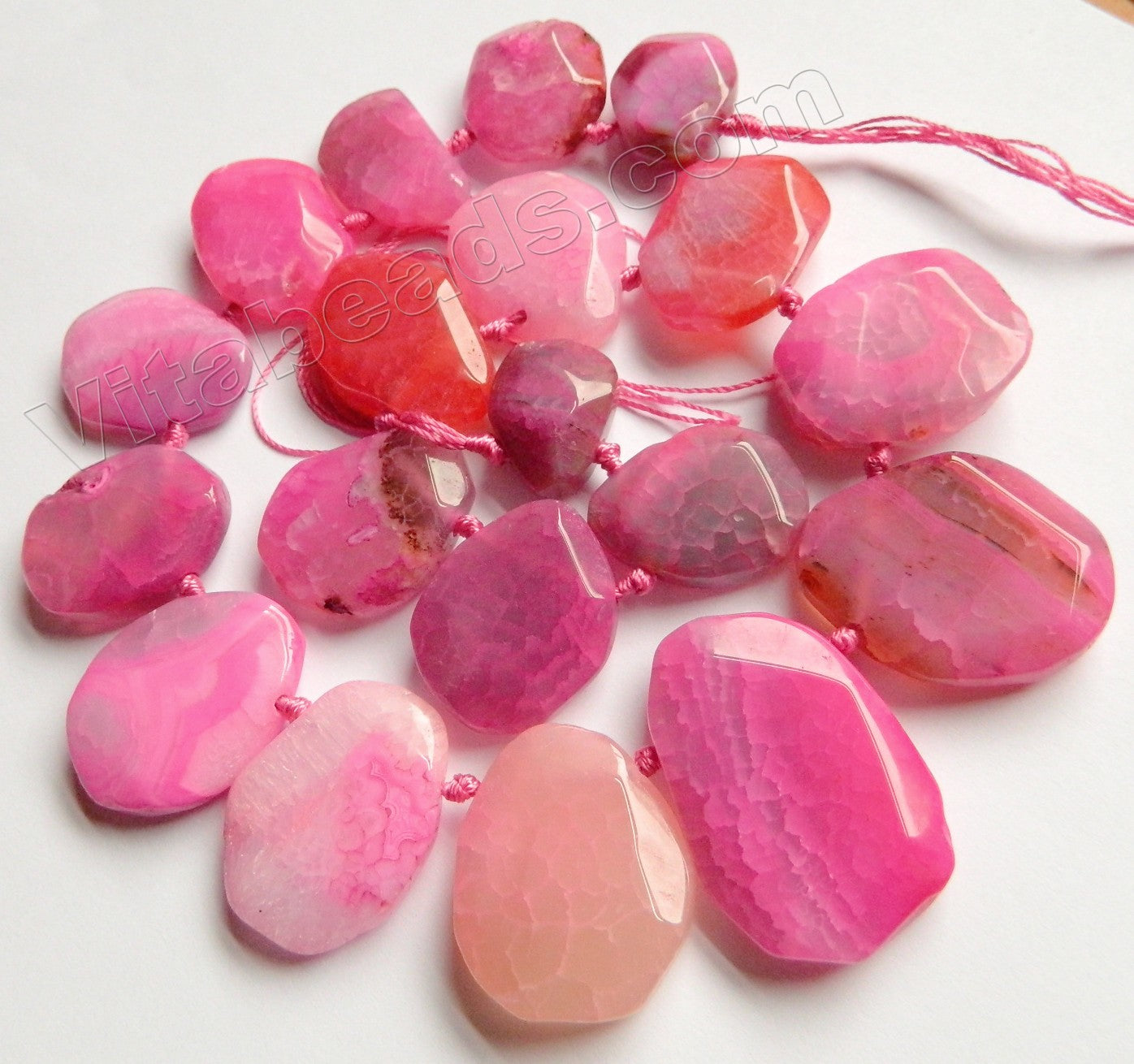 Pink Fire Agate - Graduated Top-drilled Machine Cut Irregular Drop 16""