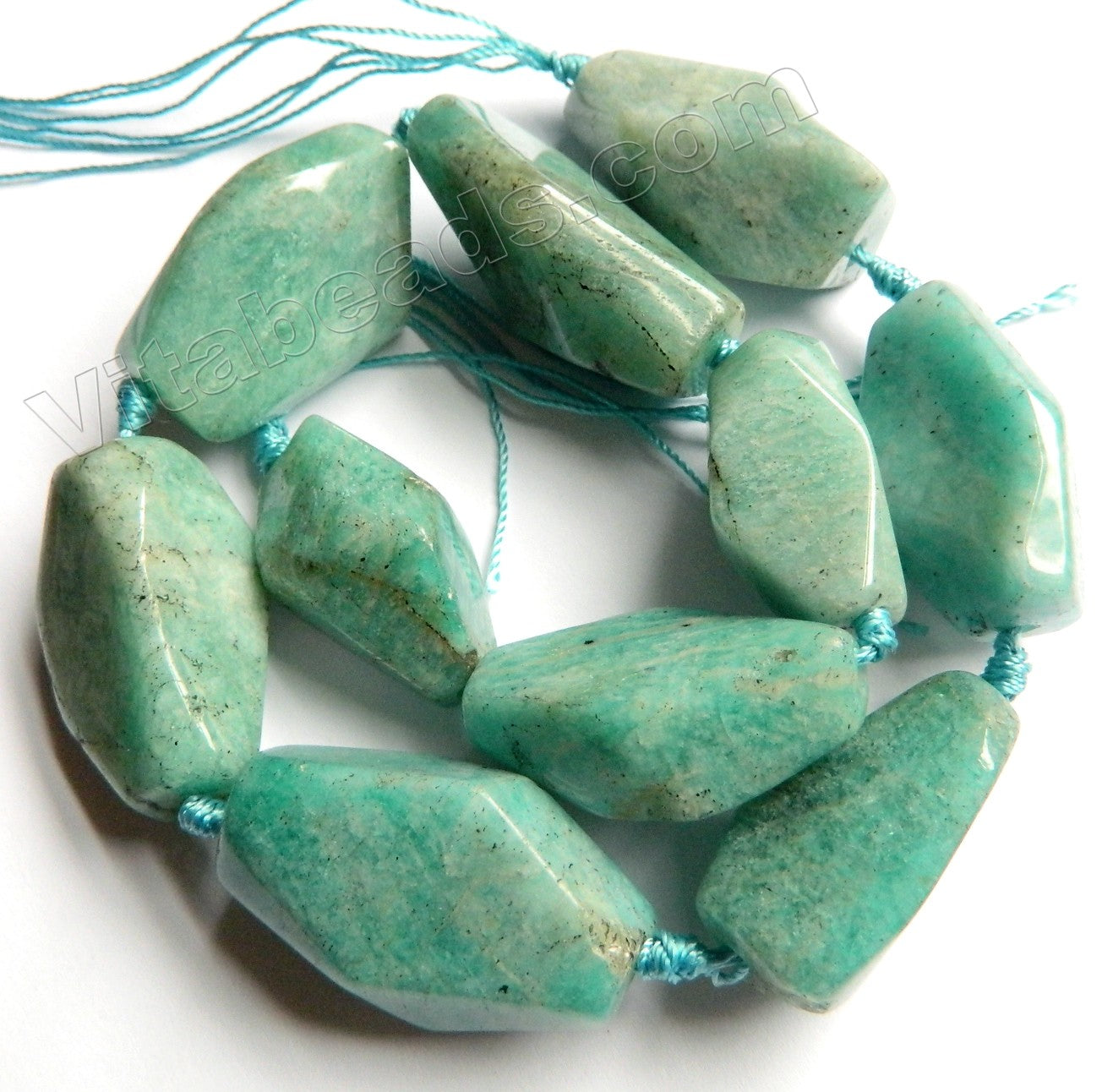 Russia Amazonite Natural A  -  Machine Cut Long Rice Tumbles  16""