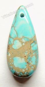 Light Aqua Brown Impression Jasper  Smooth Long Teardrop Pendant - Top Center Drilled