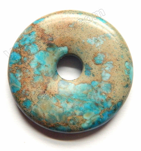 Smooth Pendant - Donut Light Blue Brown Impression Jasper