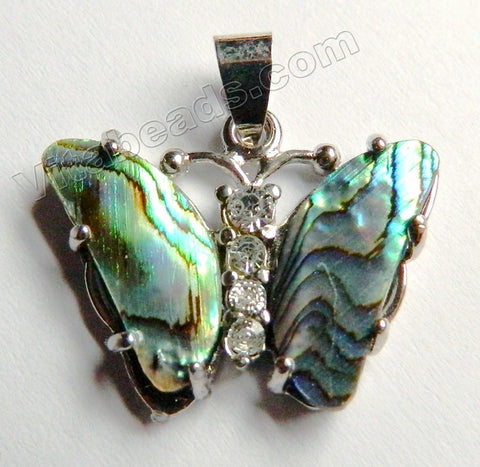 Abalone  -  Butterfly Pendant w/ Marcasite &. Bail 26x22x5mm