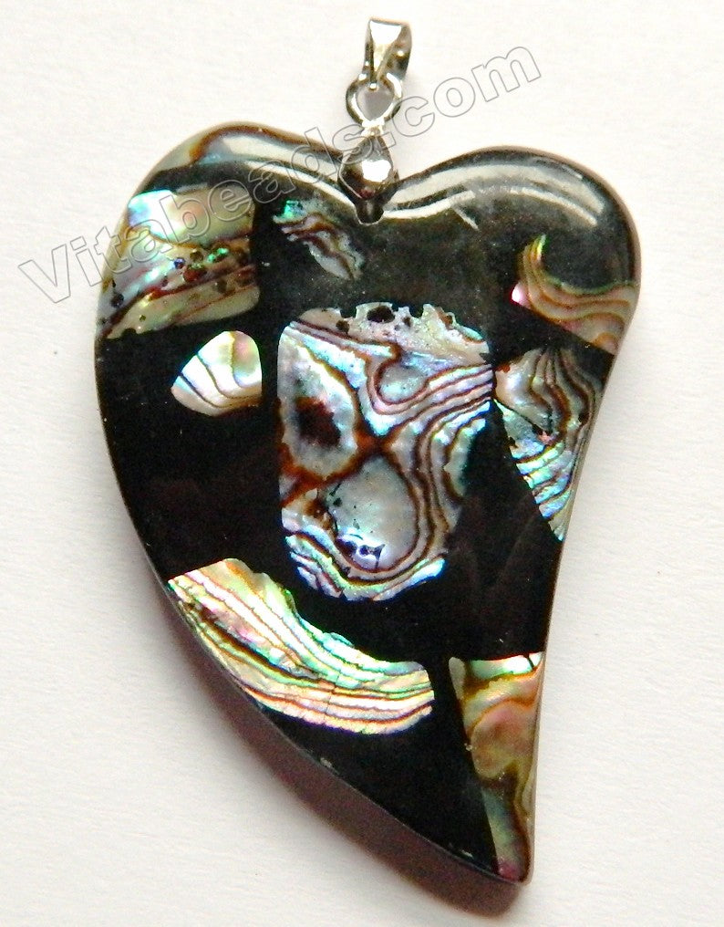 Abalone Black Compressed Fancy Heart Pendant w Silver Bail