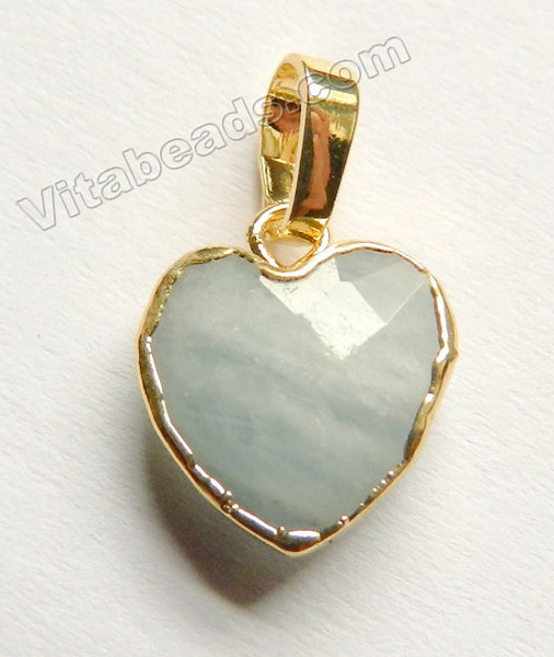 Natural Aquamarine Pendant    Faceted Heart