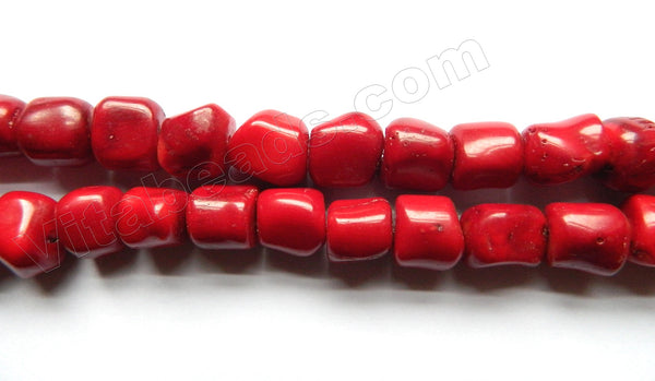 Dark Red Bamboo Coral  -  Medium Round Tube Nuggets   16""