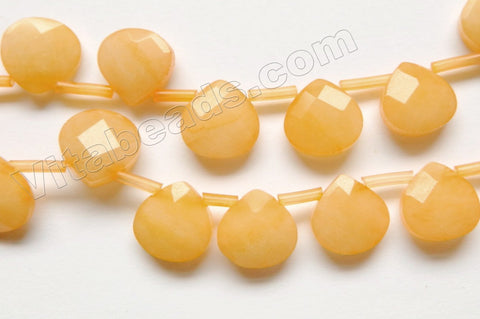 Yellow Jade  -  13mm Faceted Flat Briolette 16""