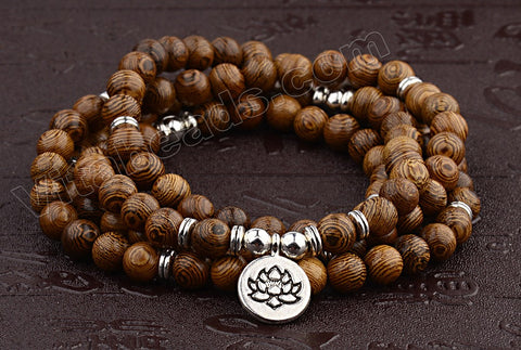 "Sandal Wood  -  109 Mala Beads Bracelet, Necklace  38"" w/ Lotus Coin Charm"