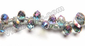 Mystic Blue Purple Crystal  -  Small Faceted Teardrop  9""