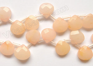 Light Peach Jade  -  Faceted Flat Briolette 16""
