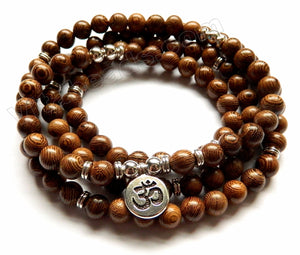 "Sandal Wood  -  109 Mala Beads Bracelet, Necklace  38""   w/ ""Namaste"" Coin Charm"