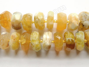 Multi Yellow Opal Natural  -  Irregular Machine Cut Wheels w/ Spacer  16""