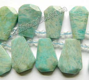 Light Russian Amazonite Natural AAA  - Graduated Double Side Cut Ladder Drops 16""