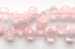 Rose Quartz -  Faceted Round Teardrops 16""