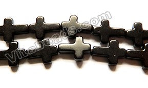 Black Turquoise  -  Long Cross Sign Beads  16""