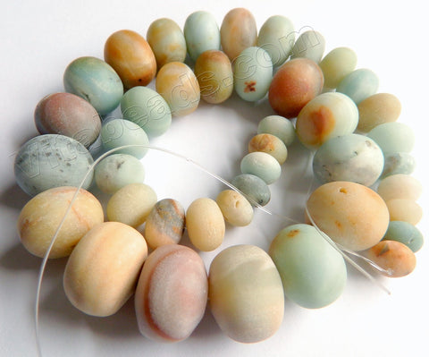 Frosted Golden Amazonite Quartz  -  Graduated Smooth Rondels  16""