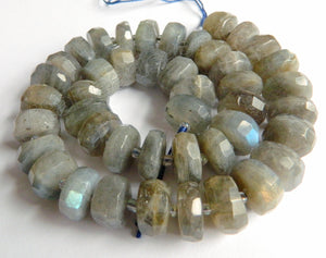 Labradorite Natural AAA  -  Machine Cut Wheels w/ Spacer  16""