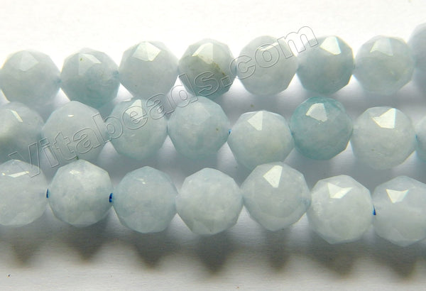 Aquamarine Natural A  -  Diamond Cut Round  15""